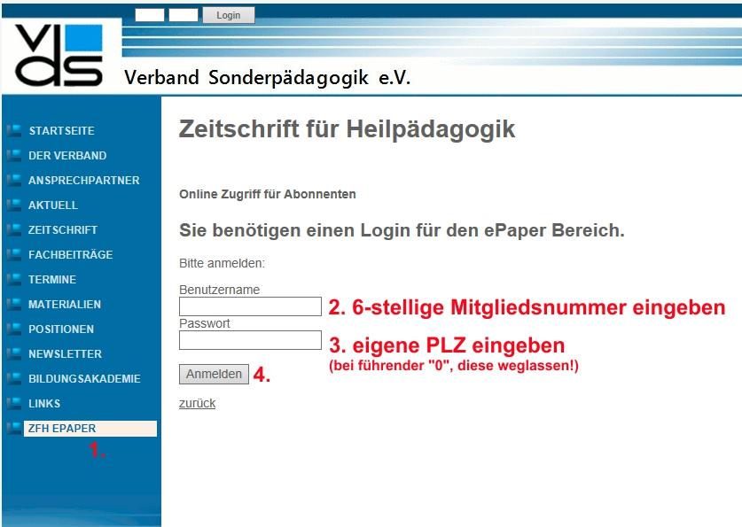 Screenshot des Anmeldeformulars mit Beschreibung zum Ausfüllen: Benutzername = 6-stellige Mtigliedsnummer, Passwort = eigene Postleitzahl eingeben (bei führender Null, diese weglassen)